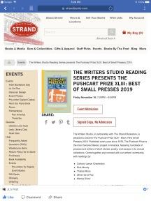 Strand Pushcart Prize Reading