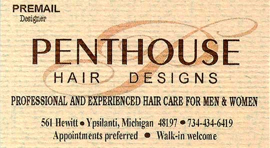 Penthouse hair Design Business card -- Pat Freeman